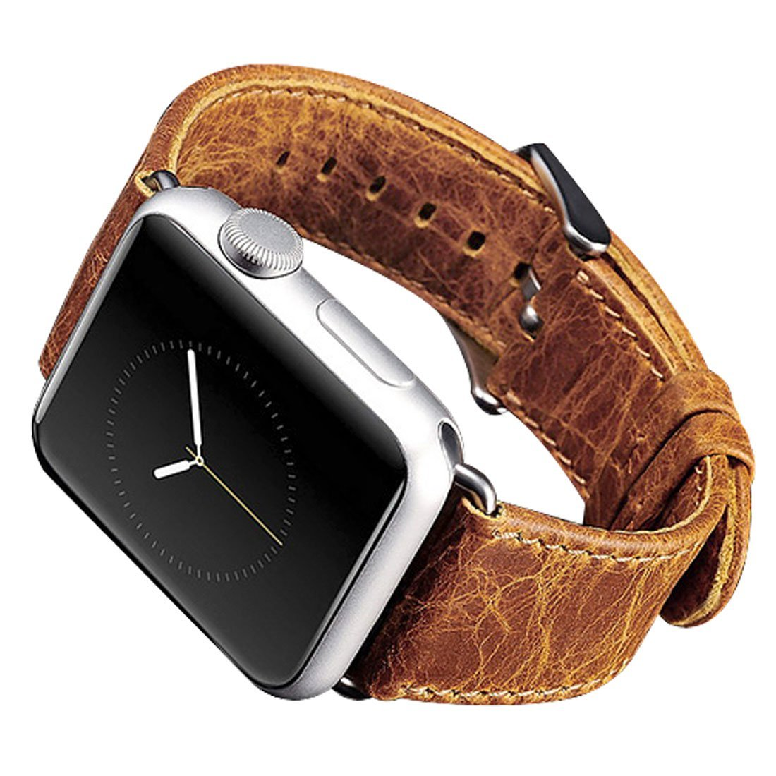 Apple Watch Leather Band, iitee [TM] Vintage Genuine Leather Strap Wristband with Free Adapters iWatch Replacement Band Bracelet with Metal Clasp for Apple Watch (38mm orange)