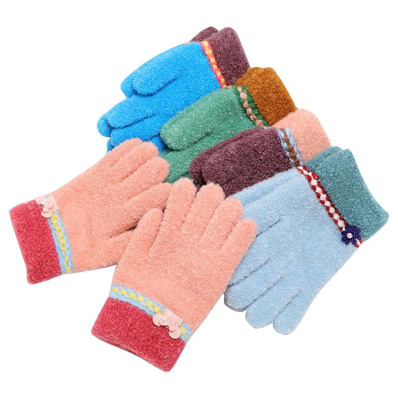 30204b2afff Hiver Chaud Bébé Gants Enfants Stretch Tricoté Mitaines Enfants Solide Filles  Gants Plein Doigt Gant Tricoté