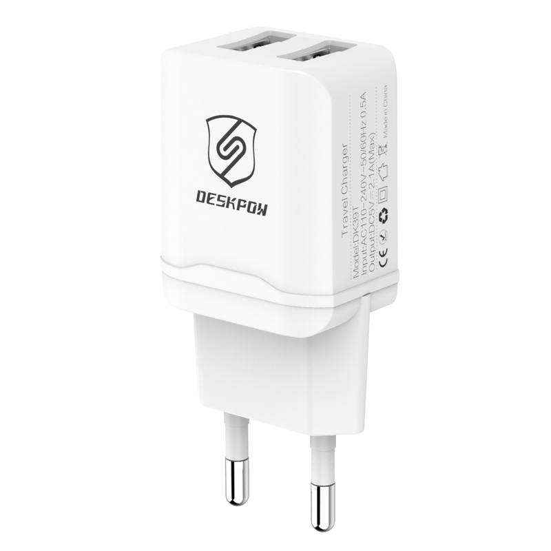 Top Quality 5V 2.1A 10.5W Emergency Mobile Phone Dual USB Europe Wall Charger for iPhone iPod iPad