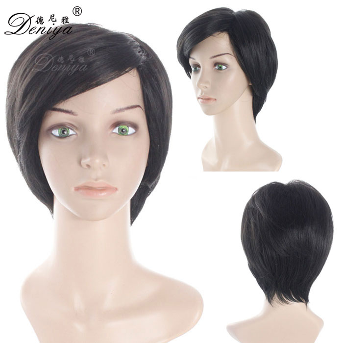 Black short women synthetic natural doll hair wigs