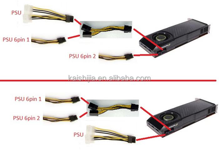 Male Molex Power 4pin To 6pin Pci E Female Adapter Cable