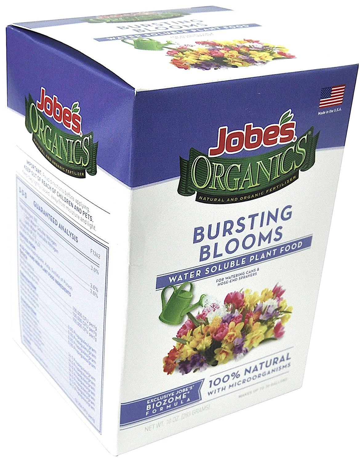 Jobe's Organics Bursting Blooms Fertilizer with Biozome 3-3-3 Water Soluble Plant Food Mix for All Flowering Plants, 10 oz Box Makes 30 Gallons of Organic Liquid Fertilizer
