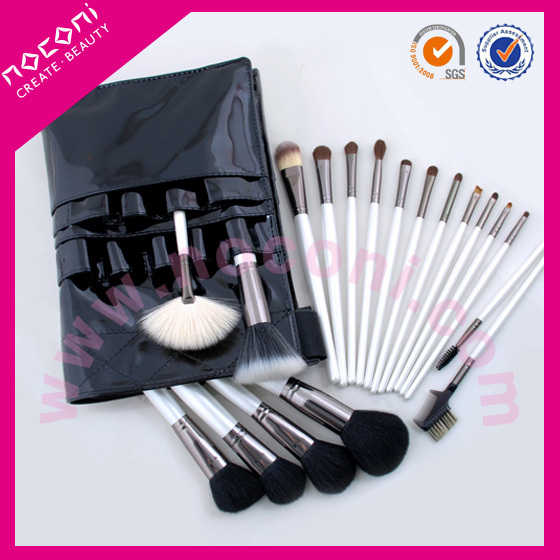 2014 hot sale 19pcs new design/wholesale/deluxe professional high quality goat/nylon hair white handle make up set-NBP1901