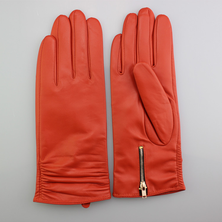 Fashion genuine leather glove with zipper womnen
