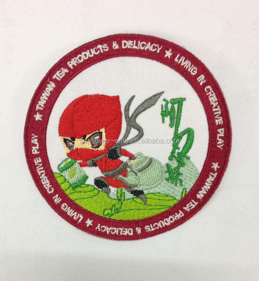 School Uniform embroidery badge/ custom embroidered patches no minimum
