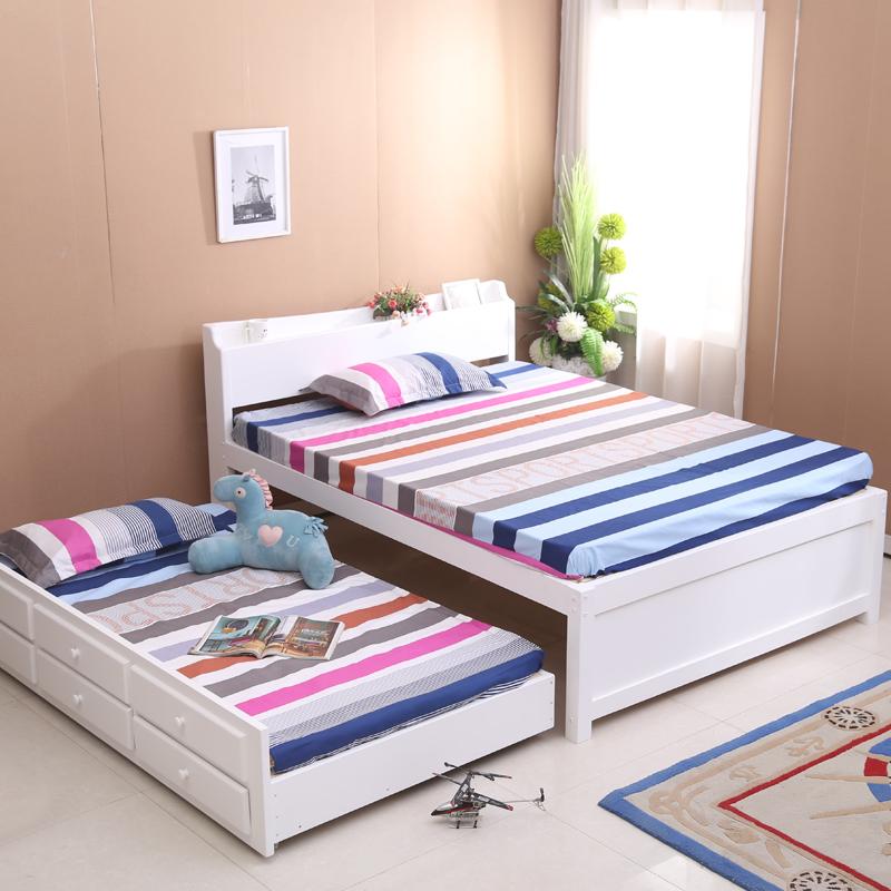 SC0144 adulto rey tamaño de lujo cama de madera conjunto y pequeña ...