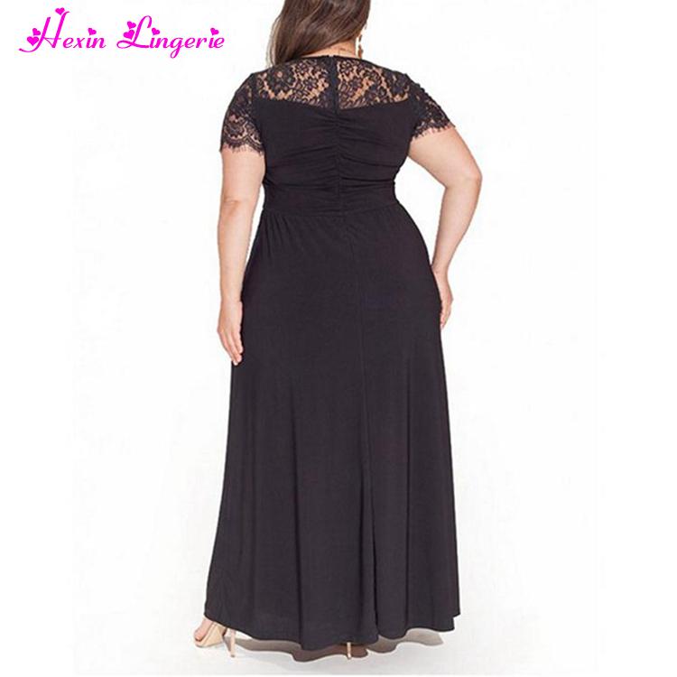 adbc76ad8 أعلى بيع رخيصة الأسود الخامس الرقبة الرباط زائد الحجم فساتين سهرة للدهون  المرأة