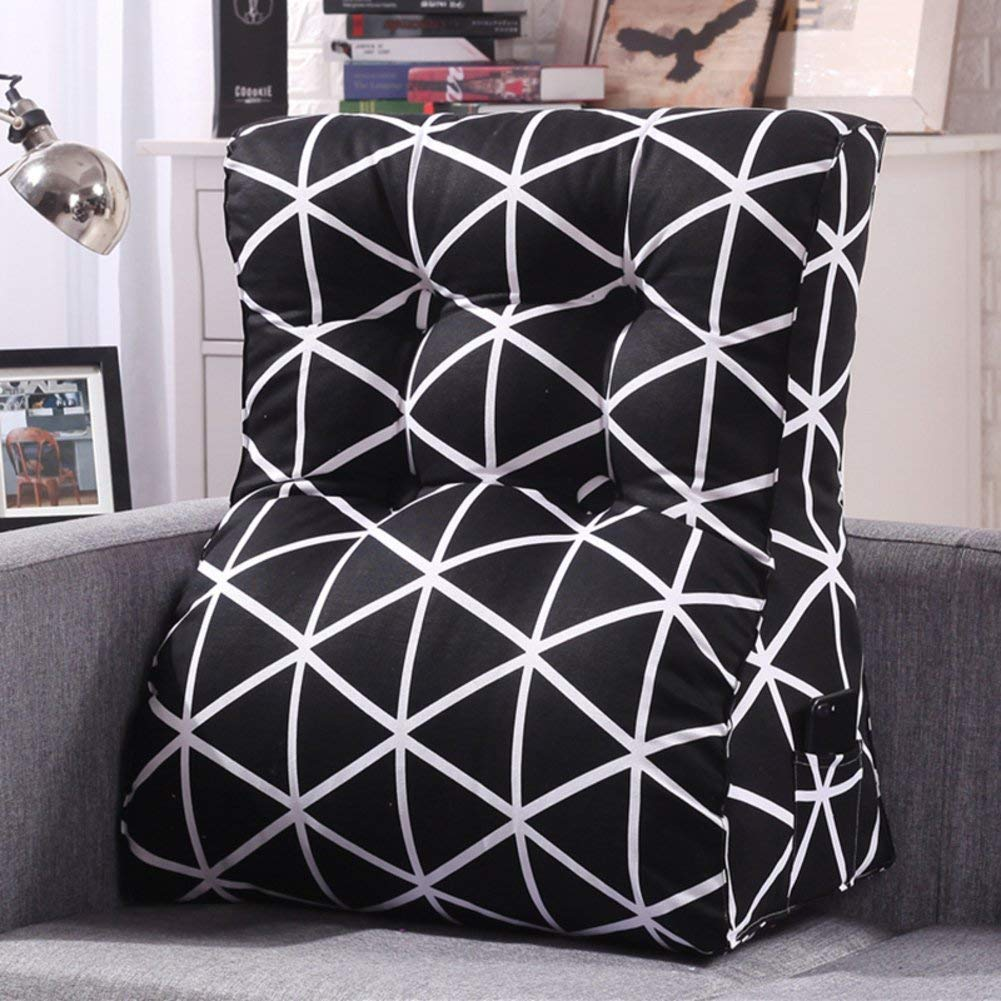 WYMNAME Sofa Triangular Wedge,Height Thicken Stereo Back Cushion Neck Back Cushion Detachable Bedside Cushion-J 60x55x30cm(24x22x12inch)