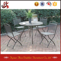 5 piece Patio Outdoor Garden Yard Dining Set Round Table with Folding Chairs
