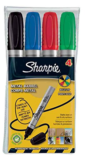 Sharpie Pack Of 6 X 4 Metal Pro Bullet Tip Permanent Marker (Black, Blue, Red, Green