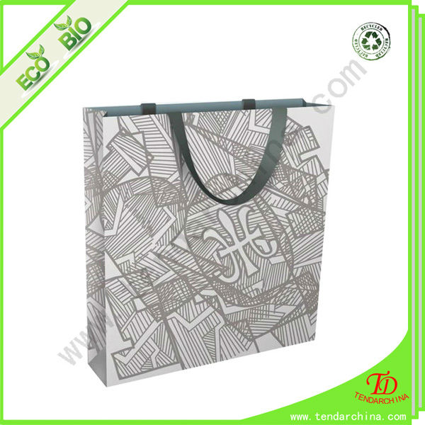 China Custom Made Craft Paper Shopping Bag With Ribbon Handle