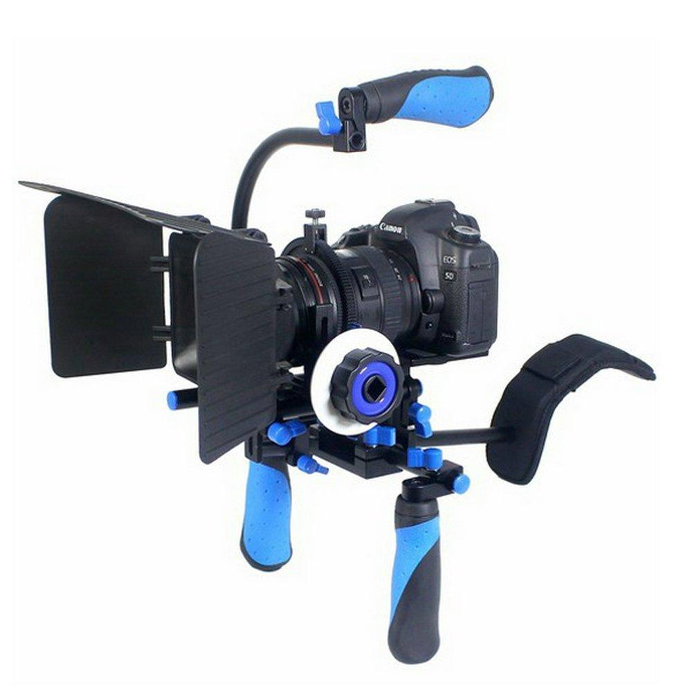 "Koolertron DSLR/VCR Shoulder Mount Rig + Follow Focus + Matte Box +15mm C-Shape Support Mount Bracket + Top Handle Grip With 1/4"" Screws Can Be Installed OnThe Tripod For DSLR/DV Video Camera"
