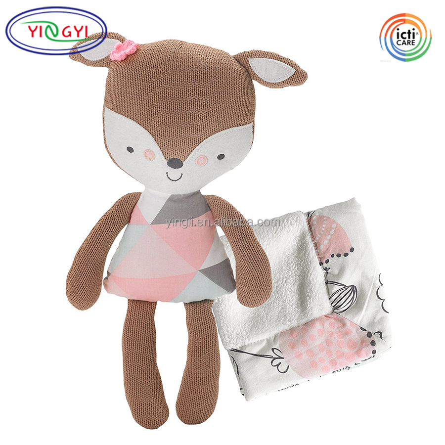 F507 Soft Comforting Stuffed Animal Security Blanket Set Cotton