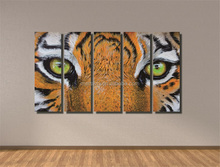 Multi-Panel LED Canvas Painting Wall Decoration,5 Pieces Canvas Painting Tiger Eye