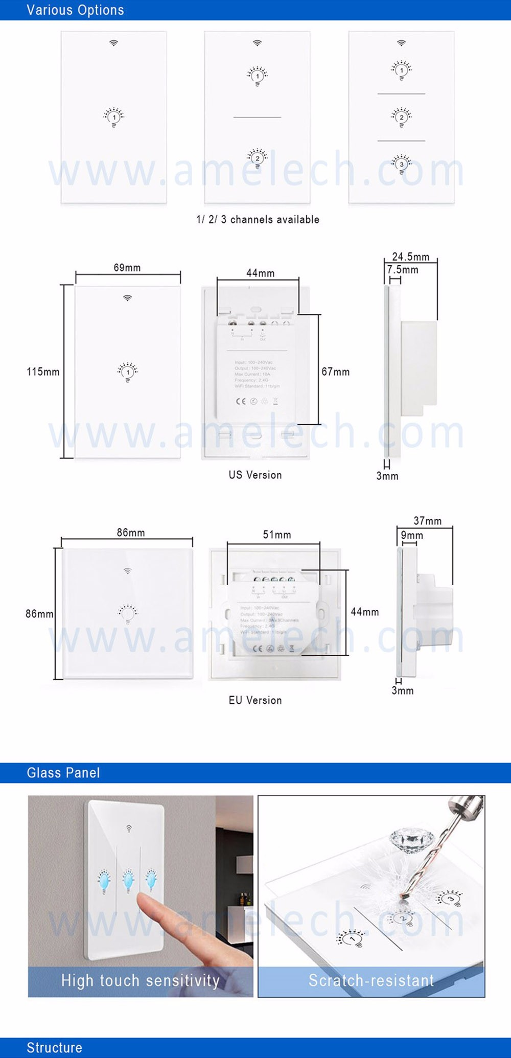 Home Automation Wireless 24g Bluetooth Mesh 40 Smart Control Relay Switch Drawing