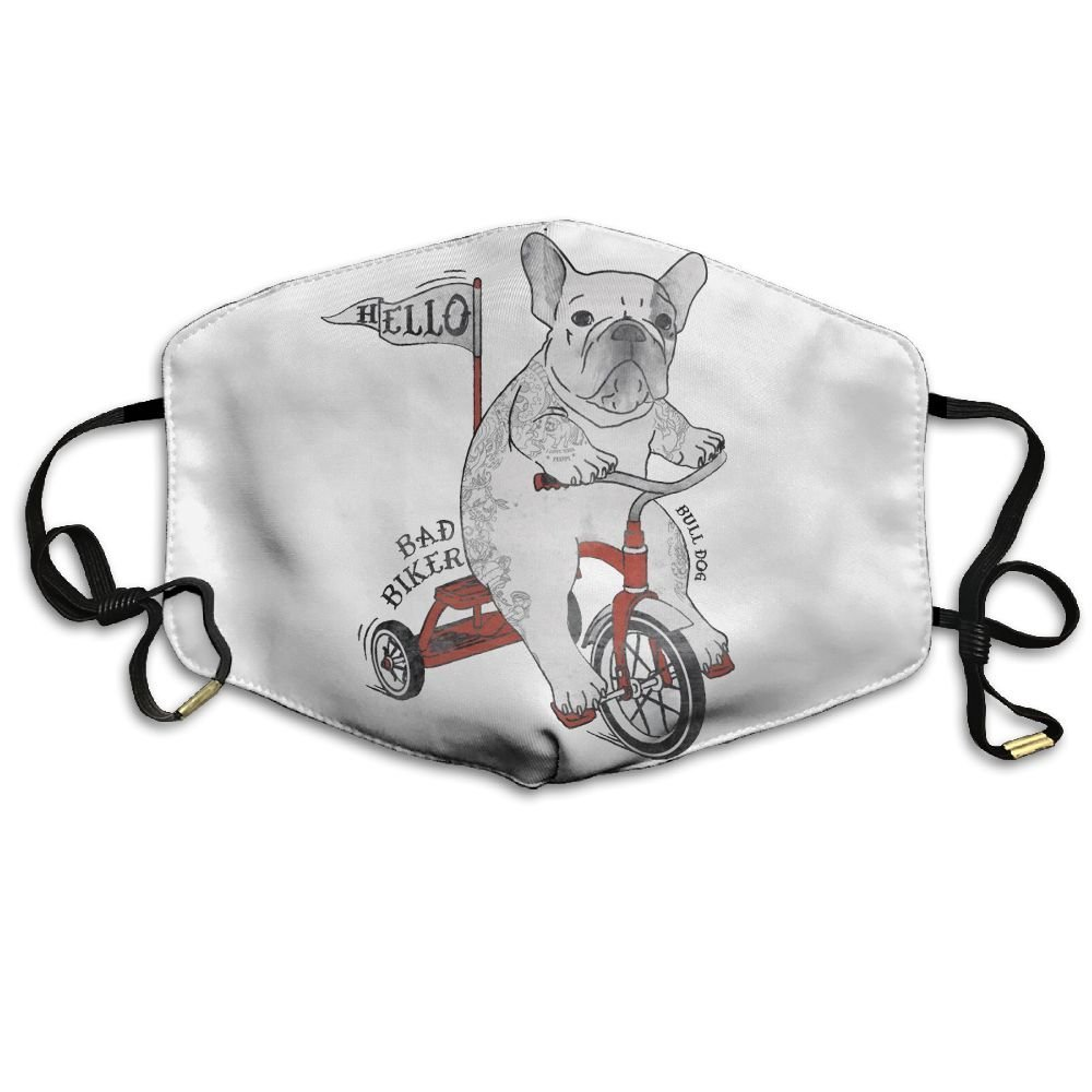 TYPU Polyester Reusable Dust The Bulldog Is A Bad Biker Say Hello Mask Health Care Mask