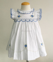 White poplin cotton children wholesale hand smocked embroidered dresses