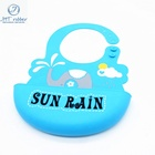 Bule Cartoon Water-proof Soft Comfortable Silicone Baby Bib For Baby Products