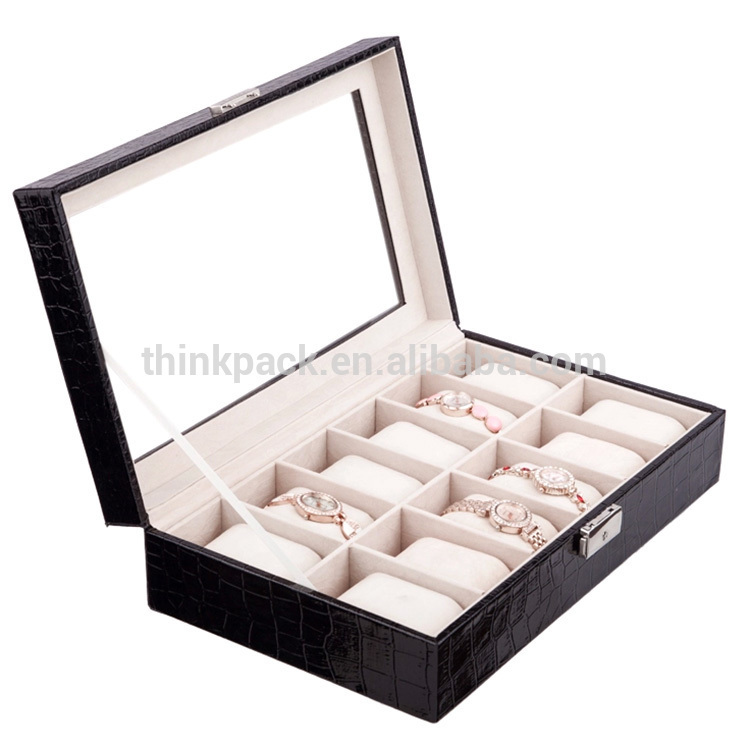 12 Slot Grid Luxury PU Leather Watch Packaging Display Box