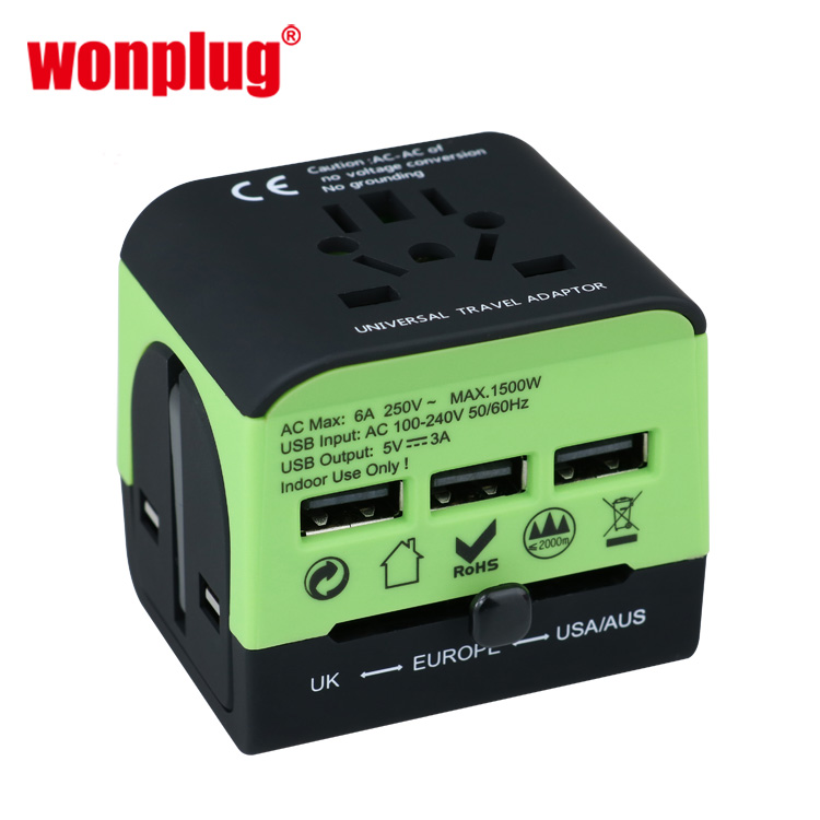 CE ROHS goedgekeurd elektrische multi plug usb charger all in one universal world travel adapter kit