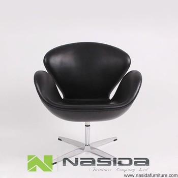 Ch149 Black Aniline Leather New Swan Chair Buy Black Aniline