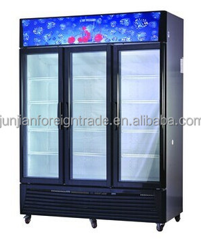 Ventilated Or Static Cooling 3 Door Refrigerated Cabinet Glass Door  Beverage Display