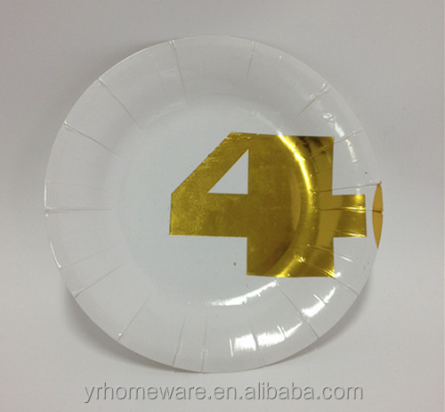 Disposable round or square metallic gold paper plate for party