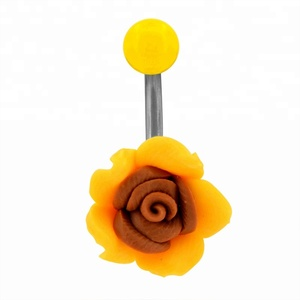 Yellow Sunflower Belly Button Ring Free Samples Body Piercing Jewelry