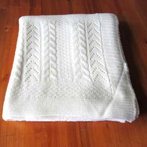 50CF95 100% Cotton 100% acrylic 100%wool mohair chunky cable knitted Throw Blanket with faux fur back