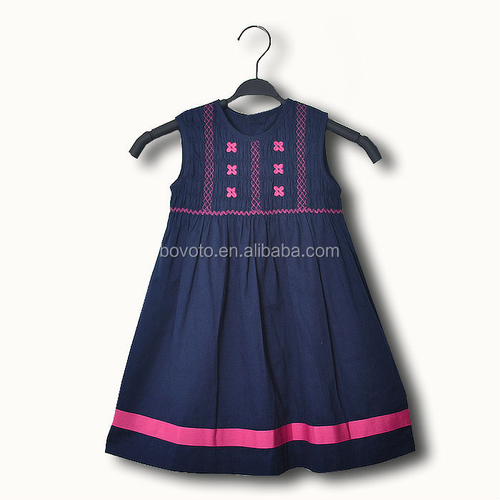2014 latest summer korea girl dresses contrast color embroider one-piece dress