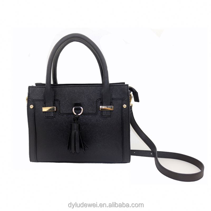 Customized designer PU tote bag women handbags fashion black zipper square shoulder bag
