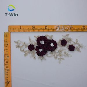 Wholesale wedding dress lace appliques 3d beaded guipure embroidery flower patches for dress