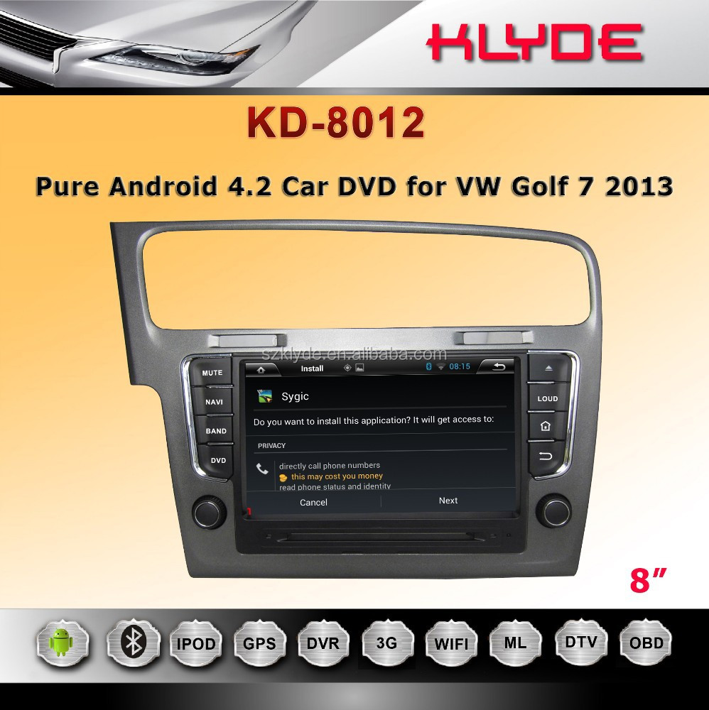 klyde factory android 4.2 high power one din detachable car dvd with LCD display for golf 7