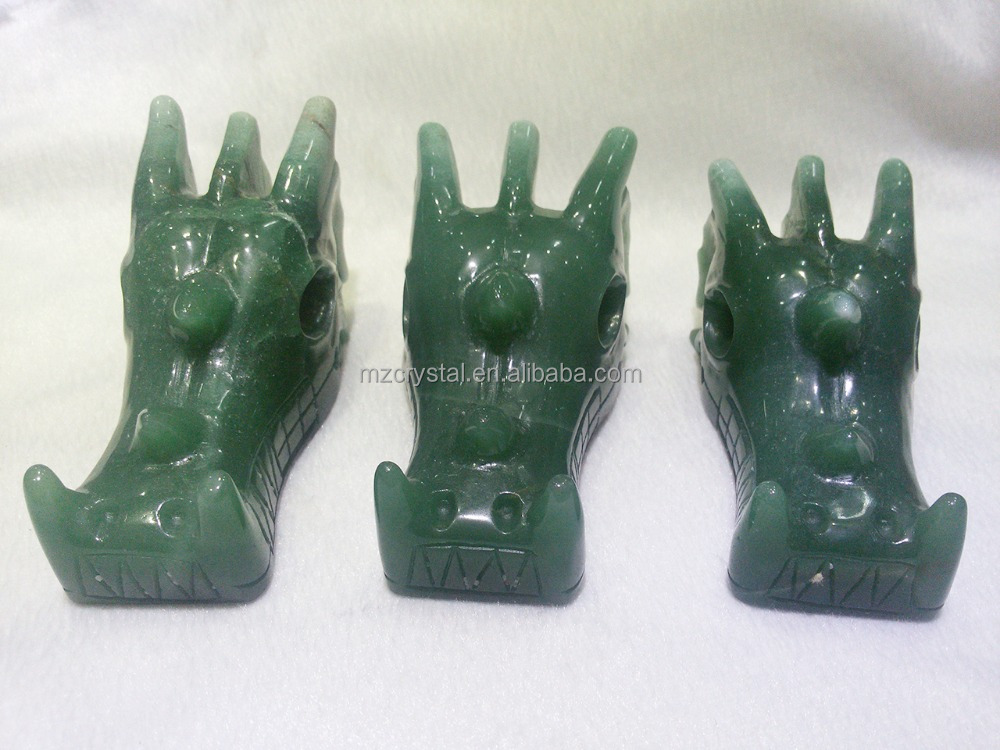 Healing natural green Aventurine Dragon Skull,hand caved <strong>crystal</strong> for crafts