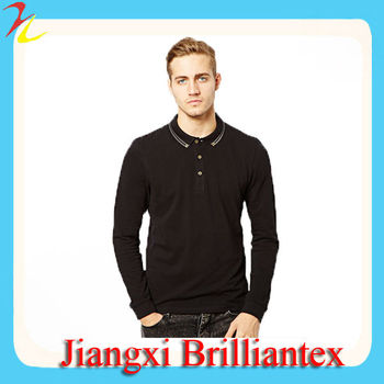 Polo With Long Sleeves And Tipped Collar korean fashion anti-pilling 2013 fashion polo shirt