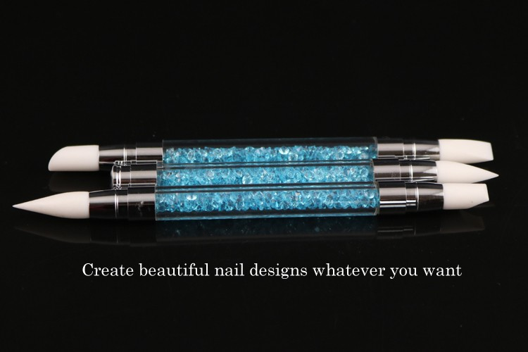 colorful crystal manicure pen set for nail