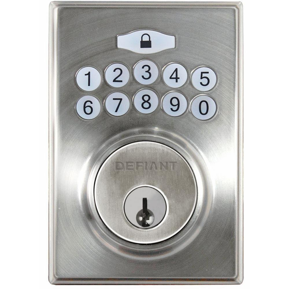 Defiant Electronic Deadbolt Square Keyless Entry Satin Nickel