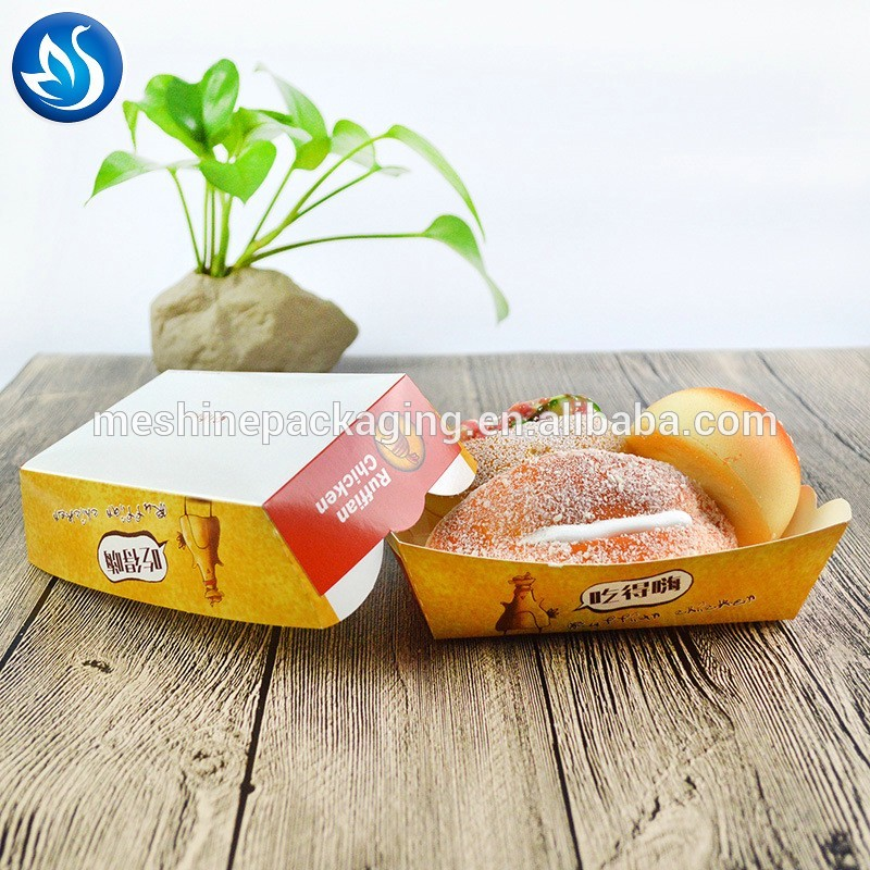 Disposable take-away brown kraft paper food trays for fried foods