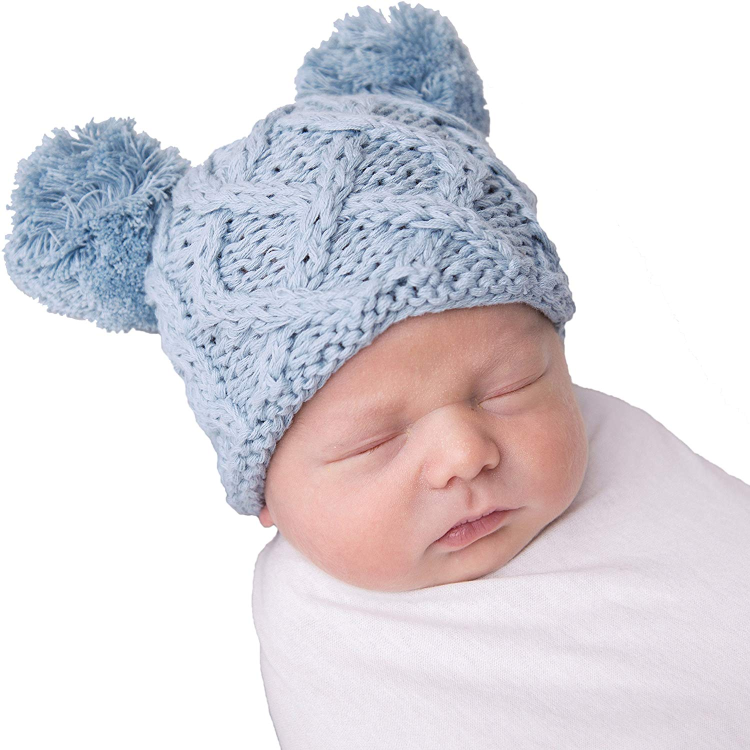 373a21fdea6 Get Quotations · Huggalugs Baby Cable Knit Pom Pom Newborn Girl or Boy  Hospital Hat In 3 Color Choices