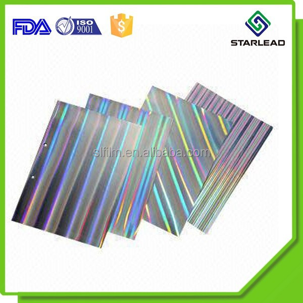 60 - 90gsm metallized holographic paper, metallised hologram paper, metallic laser adhesive paper