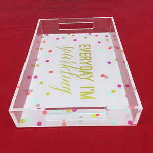 Custom wholesale clear acrylic serving trays with handles