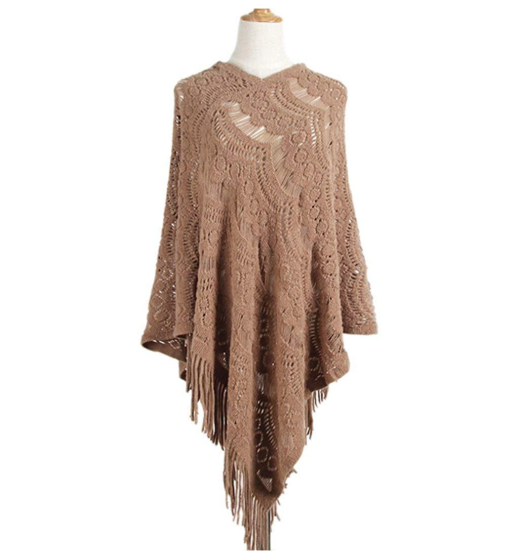 f1165370c Get Quotations · MZLIU Womens Lace Crochet Fringe Hem Poncho Shawl Knit  Poncho