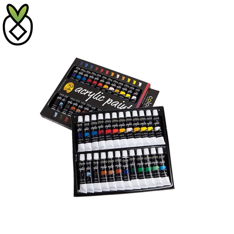 New Packaging 24 Colors 12ml Non-Toxic Acrylic Paint Set for Children