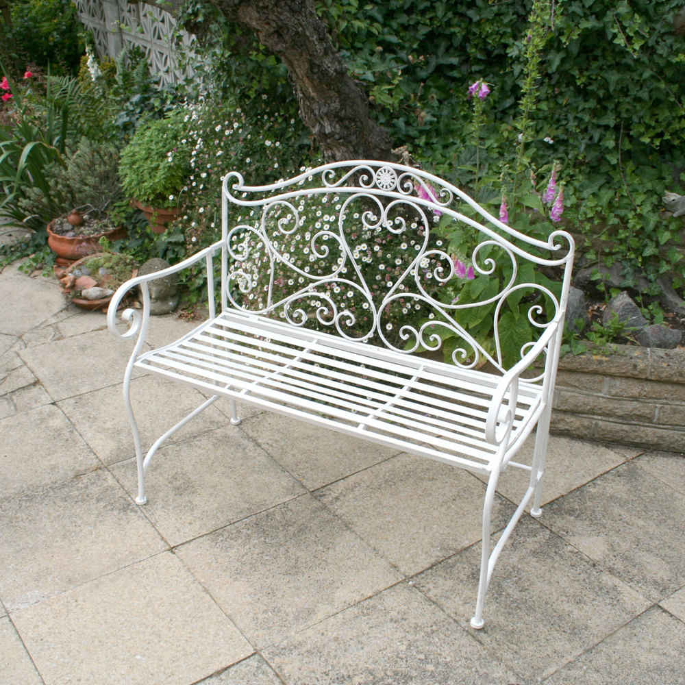 patio wrirdohebepa wrought bench benches iron double furniture heart