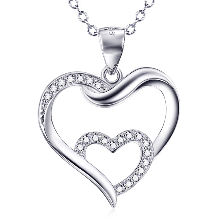 2017 luxury jewellery aliexpress wholesales diamond glowing double heart necklace
