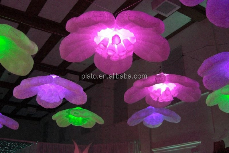 Hot sale event decorations giant hanging inflatable flower with led light for wedding decoration