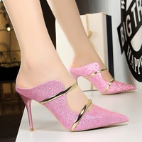 Factory wholesale price customized small MOQ sequins 9 cm womens shoes high heel high heel pumps