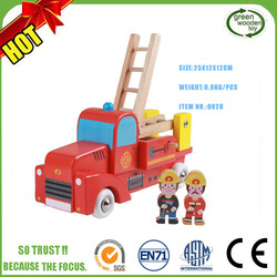 2017 Wooden Mini Yellow Blue Fire Truck Engine Toys For Sale