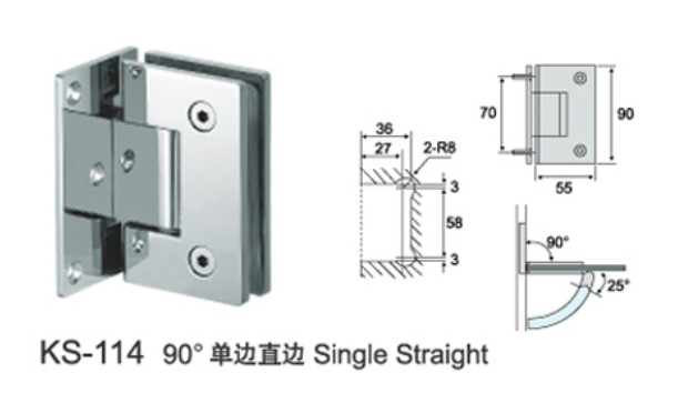 SS304 mirror polished shower hinge for glass door