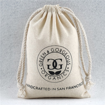 Calico High Quality cotton drawstring muslin bags with logo printed